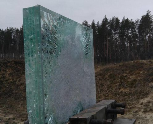 Penetration of 80mm bullet proof glass at 100m